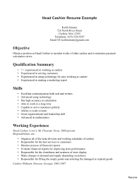 Restaurant Resume Example Food Restaurant Resume Example Traditional 100 Cashier Examples 100
