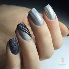 маникюр ногти Nehty Grey Nail Art Grey Nail Designs A Simple