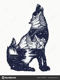 Wolf Dvojexpozicí Tetování Umění Symbol Turistika Cestování