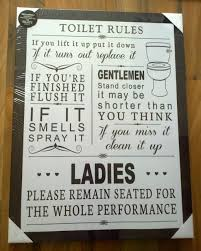 new large black white bathroom toilet rules canvas wall art picture 45x60cms  on toilet rules wall art with bathroom collection on ebay