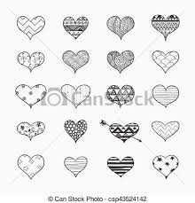 Doodle Patterns Magnificent Vector Hand Drawn Heart Shapes With Doodle Patterns Set Of Hand