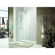 semi framed sliding shower door in chrome with tempered clear glass