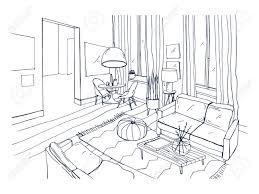 リビング ルームのスタイリッシュな快適な家具および家の装飾の完全フリーハンド描画黒と白の色でモダン