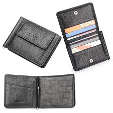 2019 black cowhide genuine leather money clip w coin pocket business credit card holders small slim wallet men billeteras portfel from whatless