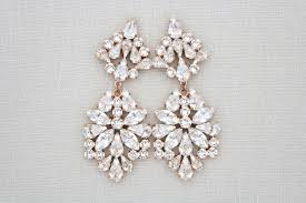 rose gold wedding earrings crystal bridal earrings chandelier