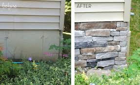 diy tutorial for adding a stone veneer to a concrete foundation wall give a