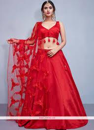 Lehenga Choli Designs Red Embroidered Taffeta Silk Designer Lehenga Choli