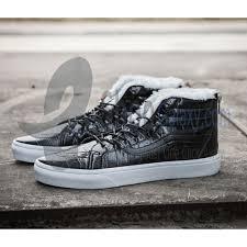 vans sk8 hi black leather zip women casual shoes