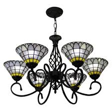 6 light tiffany style frosted stained glass shade chandelier in black