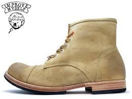 cap toe race up suede boots improve myself インプルーブマイセルフ cap toe boot im 1109 sand