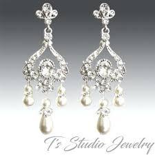 pearl and rhinestone chandelier earrings crystal rhinestone and pearl bridal chandelier earrings crystal and pearl chandelier