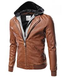 men s moto racer faux leather hooded jackets