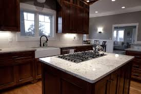 White Kitchen Island With Granite Top Classy Black Gas Stove Top On White Cambria Quartz Granite Top