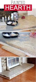 how to paint a concrete hearth to look like stone
