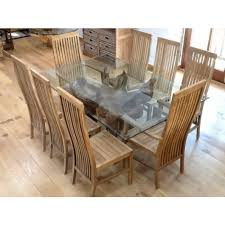 1 8m rectangular teak root dining table with 8 vikka chairs