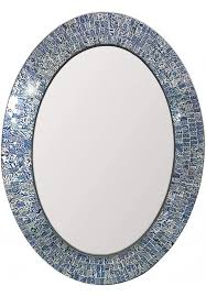 oval shape hanging blue wall mirror