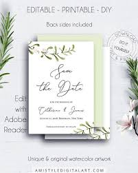 Winter Wedding Save The Date Winter Wedding Save Date Invitation With Adorable Watercolor