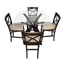 OFF Counter Height Glass And Wood Table With Four Chairs - Coffee chairs and tables