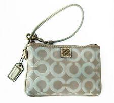 Coach Julia Signature Op Art Gold Wristlet 46804 Light Khaki