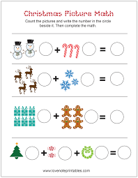 Our free phonics worksheets are great for everybody! Free Christmas Themed Picture Math Worksheet Love Note Printables Christmas Math Worksheets Christmas Math Worksheets Kindergarten Holiday Math Worksheets