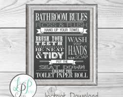 vintage bathroom wall decor. Bathroom Rules Chalkboard Print, Wall Decor, Vintage Style Decor