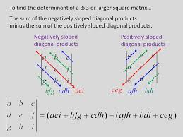 to find the determinant of a 3x3 or larger square matrix the sum of the 4 solving simultaneous equations