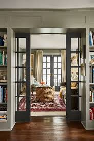 dining room french doors office. French Doors Invite Daylight To Flow Through The Den And Living Room Of This Farmhouse. Pocket Between Rooms Slide Closed For Sound Control. Dining Office M
