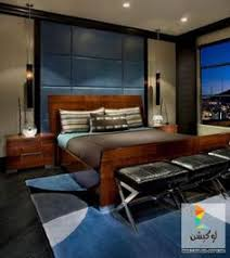 bathroomastonishing charming bedrooms asian influence home. Bedroom Design, Luxurious Contemporary For Men With Wooden Bed And Blue Leather Wall Panel Using Modern Black Hanging Lamps Blac. Bathroomastonishing Charming Bedrooms Asian Influence Home
