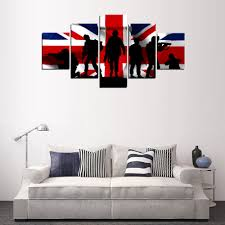 original oil ink 5 panels canvas uk flag and army painting on canvas wall art picture home decor fiv118 in painting calligraphy from home garden on  on 5 panel wall art uk with original oil ink 5 panels canvas uk flag and army painting on canvas