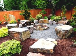 Outdoor Living:Backyard Rock Garden Design Rock Garden Design With  Centerfireplace