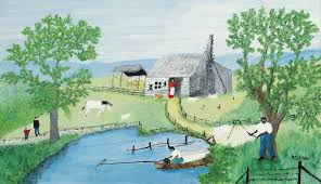 1958 old darkey cabin grandma moses original artwork signed moses copyright symbol
