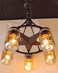 5 light lone star chandelier in dark bronze finish with smoked mason jar glass width 26 height 28 max watt 5 60watt med base bulbs
