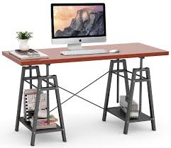 office desk pictures. Tribesigns Computer Desk Height Adjustable Standing Desk, 55\u201d Large Office With 2 Open Shelves For Home Office, Easily Switch From Sit To Stand(Teak) Pictures M