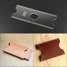 Free Leather Templates 1set Diy Small Card Holder Leather Craft Acrylic Sewing Template Photo Card Bit 9 6 5 1cm