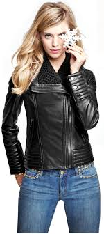 asymmetrical zip leather jacket 420 image