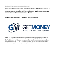 Pożyczki przez Internet - Get-Money.pl