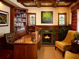 wooden home office. Classic Interior Home Office Design With Fireplace And Solid Wood Table Wooden H