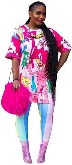 <b>ECHOINE Womens</b> Cartoon Print Two Piece Outfits Graffiti <b>T Shirt</b> + ...