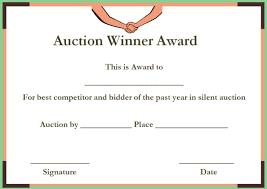 Silent Auction Winner Certificate Templates Silent Auction