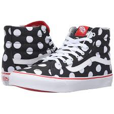 vans shoes red and black high tops. vans sk8-hi slim ((polka dot) black/fiery red) skate shoes ($65) ❤ liked on polyvore featuring shoes, sneakers, black leather high tops, red and tops k