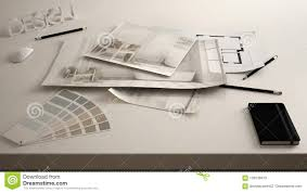 Interior Design Concept Paper Architect Designer Concept Table Close Up With Interior