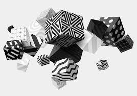 Black And White Mural Design Photo Wallpaper Black White Cubes