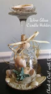 tbccrafters craft hop beach themed wine glass candle holder