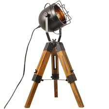 Decoluce Industrial Vintage Floor Table Tripod Lamps Wooden Stand