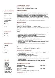 Electrical project manager resume