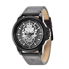 police watches men s ladies police watches h samuel police men s reaper skull dial grey leather strap watch product number 2832100