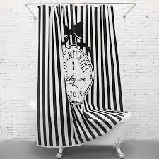 Fashion White/Black Striped Funny Shower Curtains