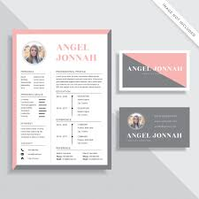 Resume Business Cards Classy Feminine Resume CV And Business Card Template Design Set Vector