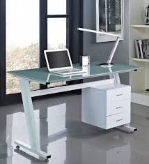 white modern glass computer desk with storage and minimalist cantilever lighting large size
