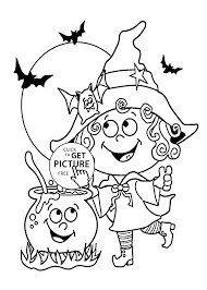 Small Picture Halloween Little funny witch coloring page for kids printable